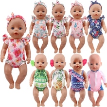 Handmade Swimsuit + Headband For 43 cm Born Baby Doll Clothes Accessories American 18 Inch Girl Our