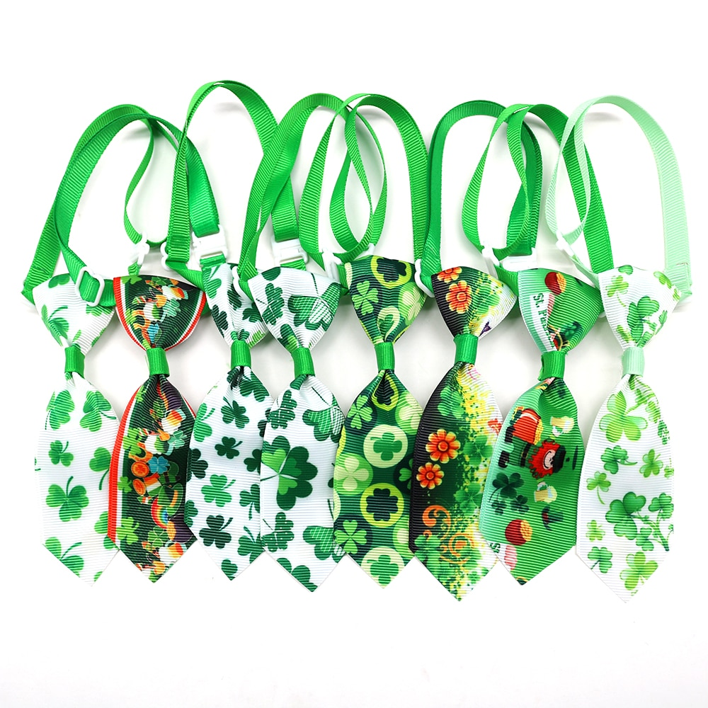 100PCS Dog Ties ST Patrick's day Pet Supplies White Green Small Dog Neckties Bowties Holiday Pet Dog