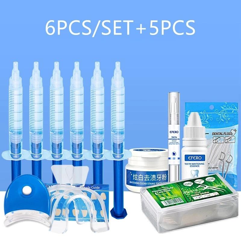 11PCS/SET Dental Peroxide Whitening Pen Powder Essence Gel Dental Floss Picks Teeth Toothpicks Stick Teeth Whitening Kit