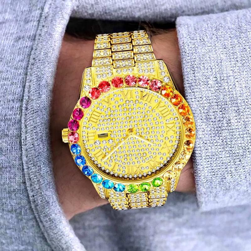 ساعة ذهبية للرجال MISSFOX فاخرة Ice Out الماس ساعات رجالية تاريخ التلقائي ساعة اليد هدية عيد الحب دروبشيبينغ