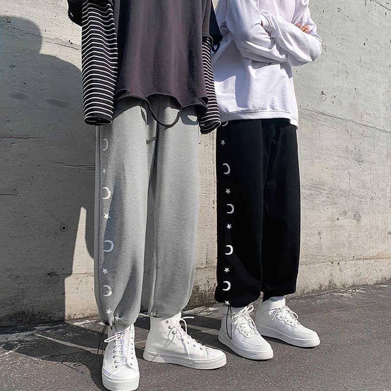 INS Retro Gray Sports Pants Female Sweatpants 2021 Summer Harajuku Style BF Straight All-Matching Lo