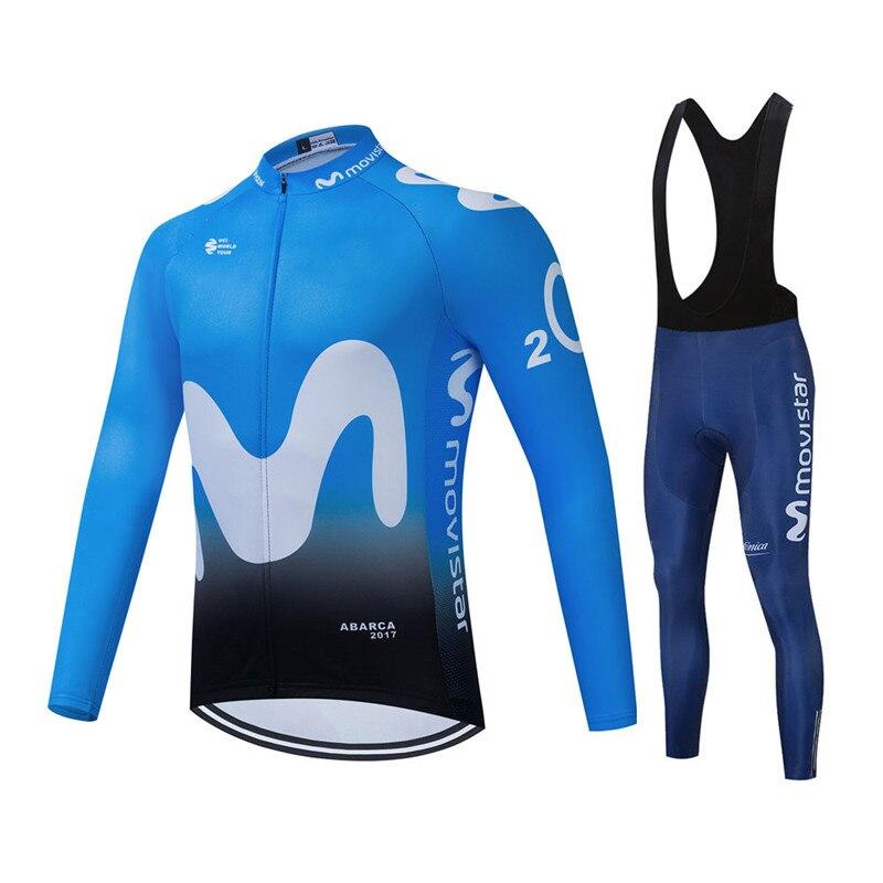 2021 Movistar Pro equipo de Ciclismo de manga larga Camisetas Ropa Ciclismo...
