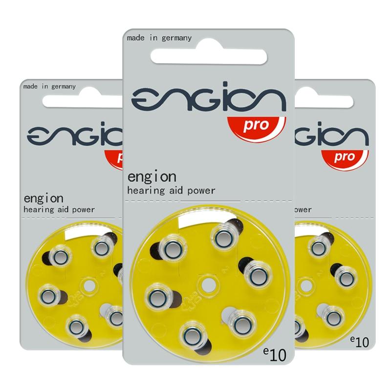 60PCS  ENGION High Performance Hearing Aid Batteries A10 10A ZA10 PR70 S10 Zinc Air 1.4V Hearing Aid
