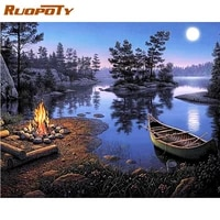 ruopoty diy oil painting by numbers moon night bonfire landscape paint kits framed home decor wall artcraft diy gift drawing pai