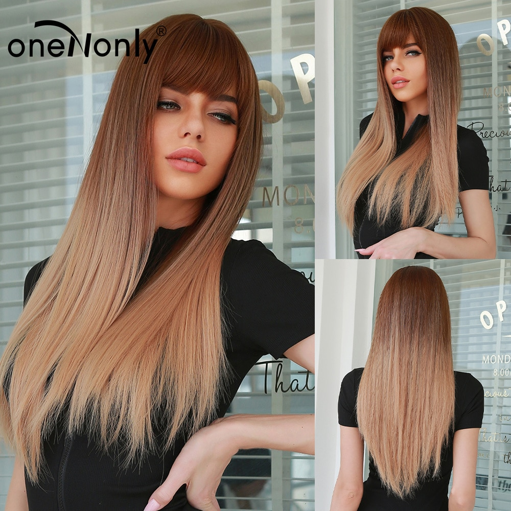 oneNonly Long Straight Ombre Brown Blonde Golden Synthetic Wig with Bangs for Women Cosplay Daily Heat Resistant Hair Wigs ebingoo sugar sugar rune sangona manier double ponytail brown long straight synthetic cosplay wig with bangs for women