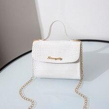 Petit sac à main motif Crocodile pour femmes, sac carré, sacoche à bandoulière à la mode blanc violet noir