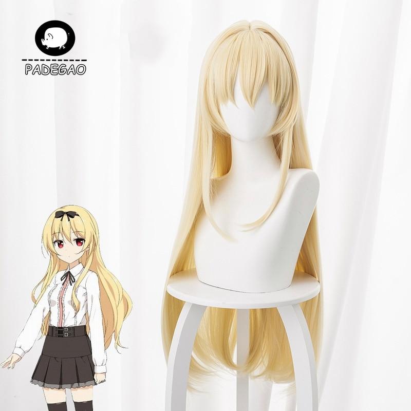 Peluca Yue Arifureta Shokugyou de Sekai Saikyou, diadema de Anime para Cosplay, pelo sintético largo amarillo para mujeres, envío gratis