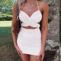 2020 summer womens dress solid color sexy slim halter lace up hip dress beach party dress