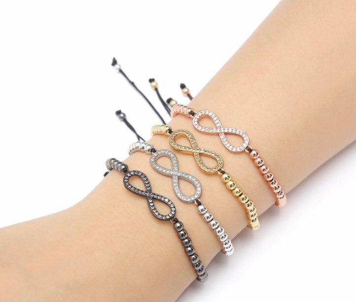 Oro plata micro pave cz Cubic Zirconia cuerda ajustada cuentas de cobre para pulseras yjg4 ocho brazaletes trenzados joyería mujeres