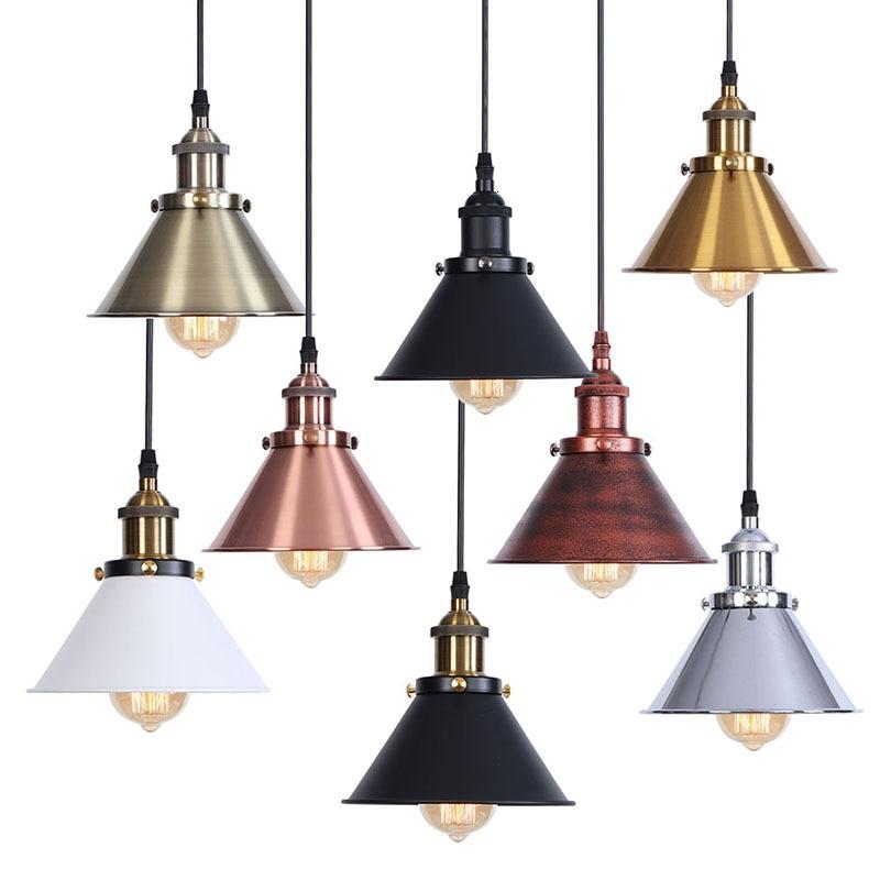 Vintage lámpara colgante industrial Retro lámpara de techo de hierro dorado lámpara nórdica E27 Edison lámpara para comedor dormitorio restaurante