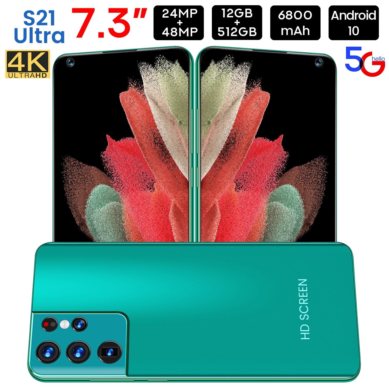 أحدث الهاتف الذكي Galxy S21 جدا 7.3 بوصة HD شاشة النسخة العالمية 6800mAh بطارية 12GB RAM 512GB ROM 4G LTE 5G الهاتف المحمول GPS