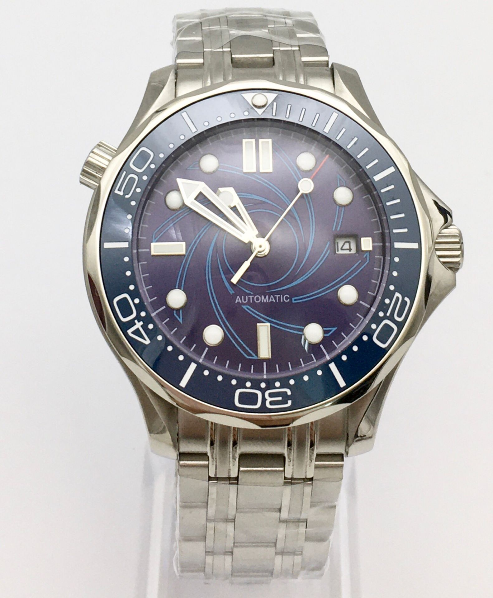 41 cm blue dial watch men's watch automatic mechanical clock date ceramic bezel stainless steel solid case 007