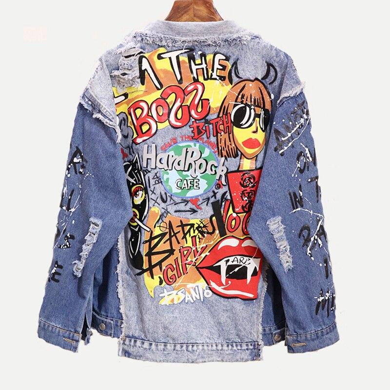 Tal vez U mujeres azul Denim suelta Punk chaqueta botón bolsillo Turn Down Collar carta dibujo grafiti Hole Hip hop estilo C0221