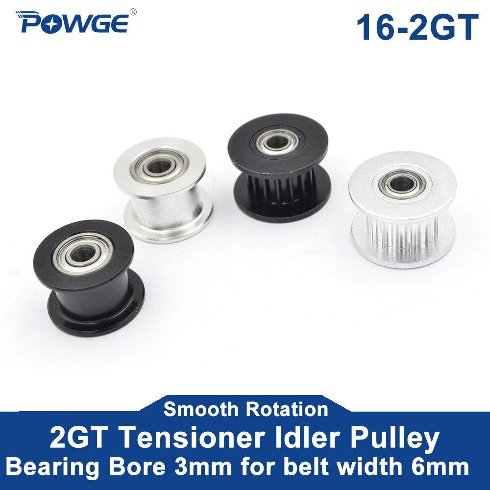 POWGE 1 шт. 2GT 16 зубчатое синхронное отверстие натяжного шкива 3 мм с подшипником для ширины 6 мм GT2 зубчатый ремень пассивное колесо 16 T 16 зубьев