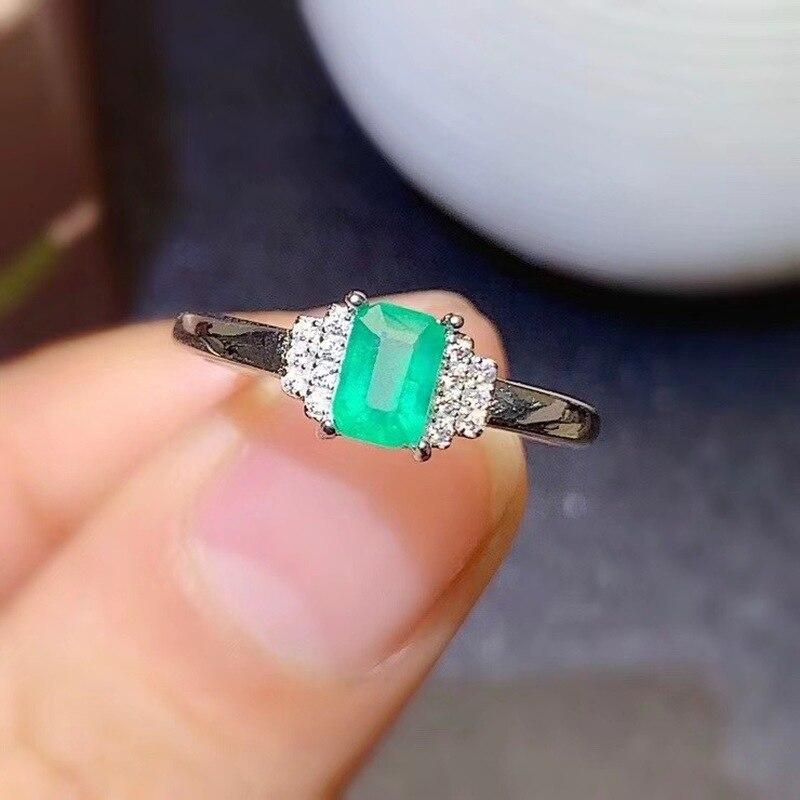 خواتم زفاف من الفضة الإسترليني عيار 925 ، مجوهرات فاخرة ، الزمرد الطبيعي ، قطع مربع ، للنساء ، 4*6 مللي متر