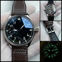 Pilot Watch 44mm no logo Mechanical Hand Wind Men's Watch Black Dial Sapphire 17 Jewels Seagull St36