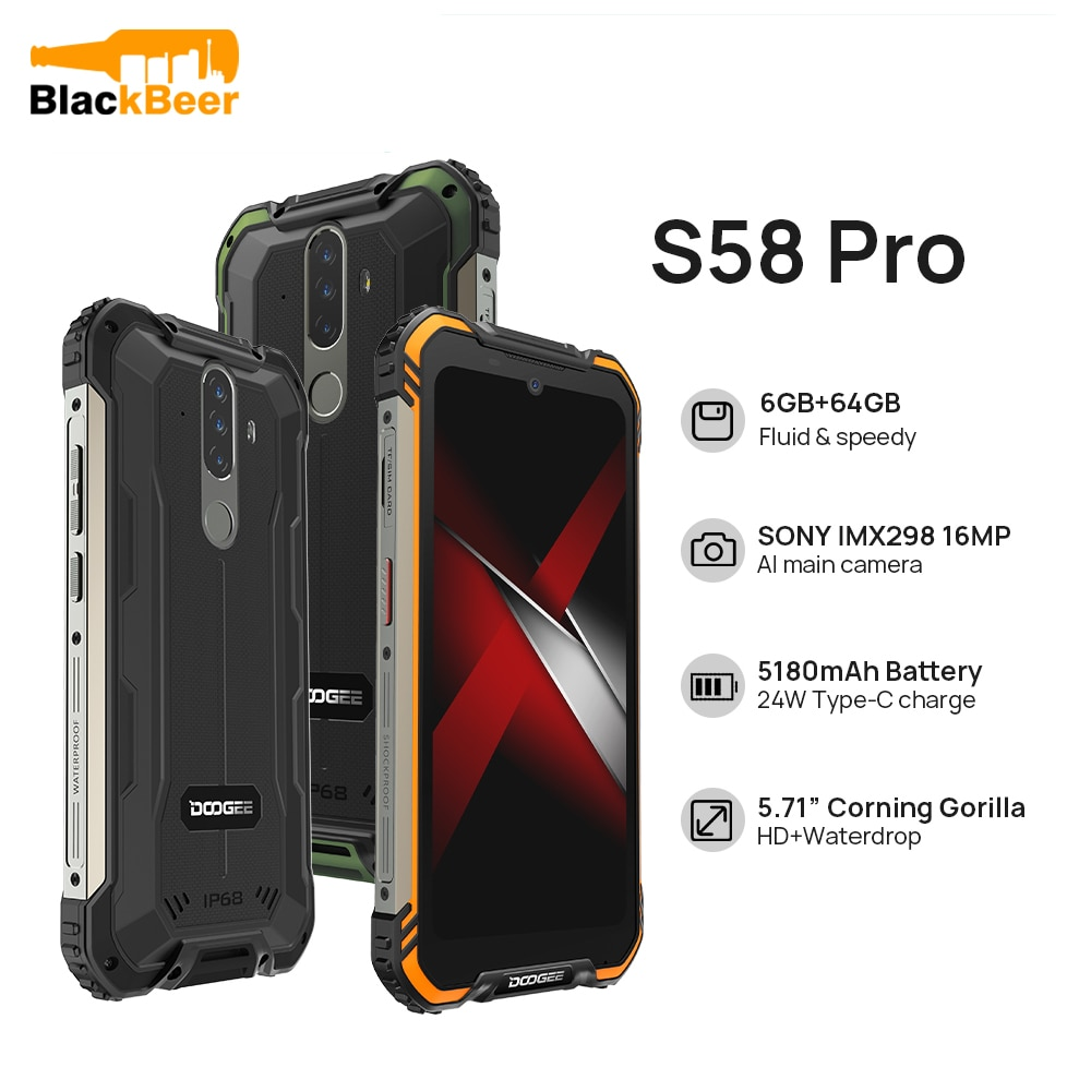 DOOGEE S58 Pro 4G LTE Mobile Phone IP68/IP69K Waterproof Rugged SmartPhone 5.71 Inch Android 10 Cellphone 6GB 64GB NFC 5180mAh