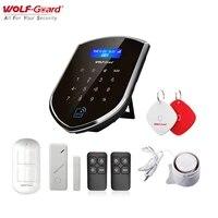 Wolf-Guard     systeme dalarme de securite domestique intelligent  wi-fi 3G GSM 2 4G  433MHZ  capteur de porte  detecteur de mouvement PIR  a monter soi-meme