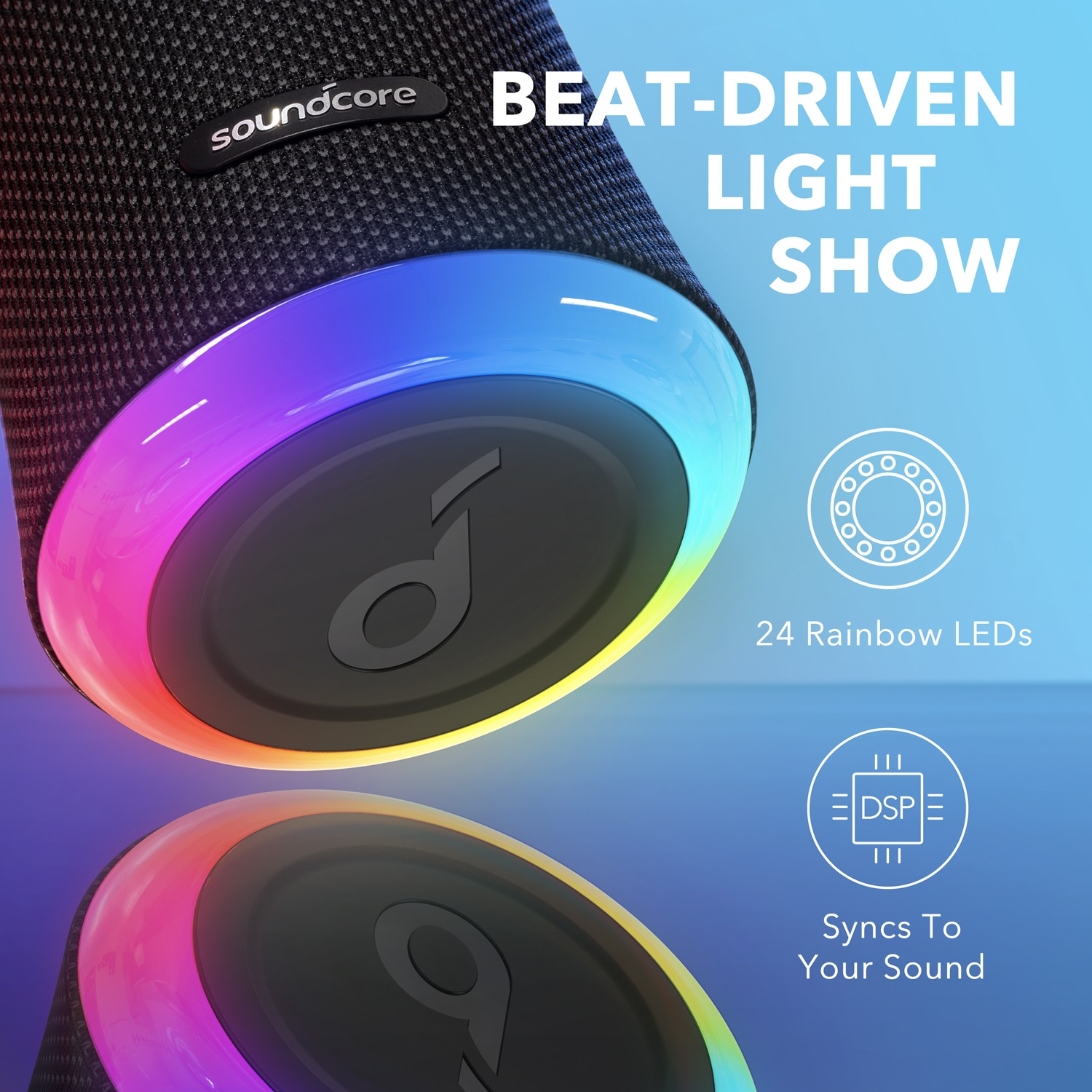 Anker Soundcore Flare 2 Bluetooth Speaker, with IPX7 Waterproof Protection and 360° Sound for Backyard and Beach Party, 20W Wire enlarge
