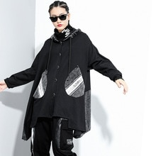 Vrouwen Oversize Trendy Splice Hooded Geul Jas Vrouwelijke Gothic Hip Hop Streetwear Plus Size Windbreaker Bovenkleding Herfst Jas
