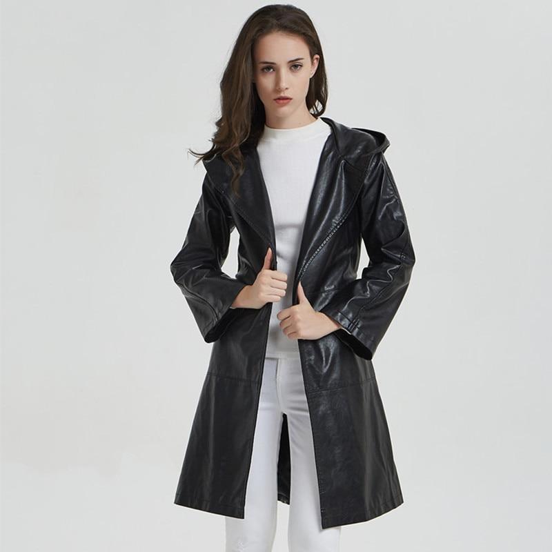 Vozro 2019 new Women Leather Jacket long section slim hooded Bell sleeve fashion leather windbreaker Coat Korean version enlarge