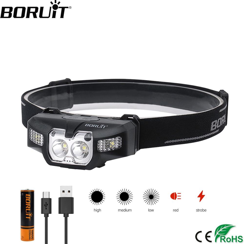BORUiT B30 2 * XP-G2 + 2*3030 الأحمر LED البسيطة كشافات IR الحركة الاستشعار 5-وضع المصباح قابلة للشحن للماء رئيس الشعلة للصيد