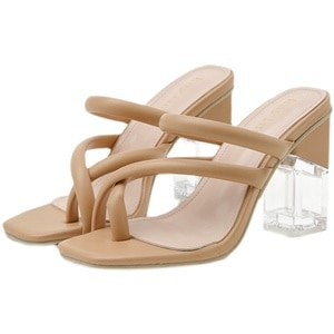 Crystal Sandals Women Summer New Fashion Thick Heel Pointed Toe Women Slippers Shoes