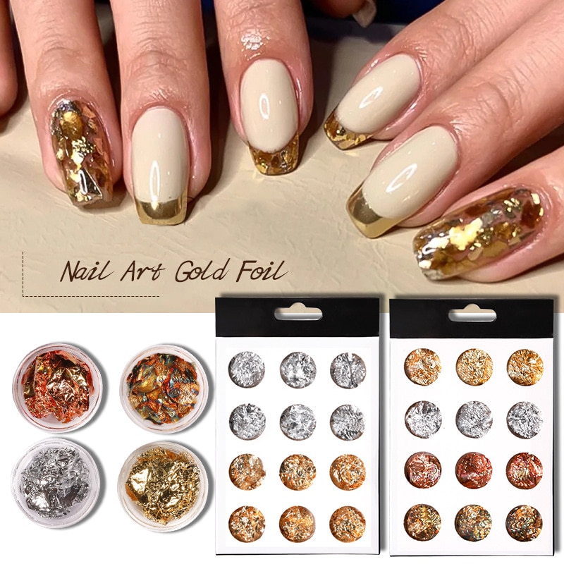 Nail art decoration ultra-thin gold and silver foil paper 12 grid nail art gold and silver foil color foil paper set