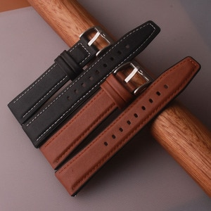 Watchband Smooth 22mm Genuine Leather + Rubber Straps For Huawei GT 2 GT2 Pro Watch Replacements Honor Magic 1 2 46mm Mens Strap