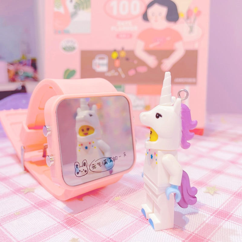 Glass Mirror Electronic Watch Girls' and Boys' Primary School Children Clock Time Cute Cartoon Jelly Unicorn Kids Watches
