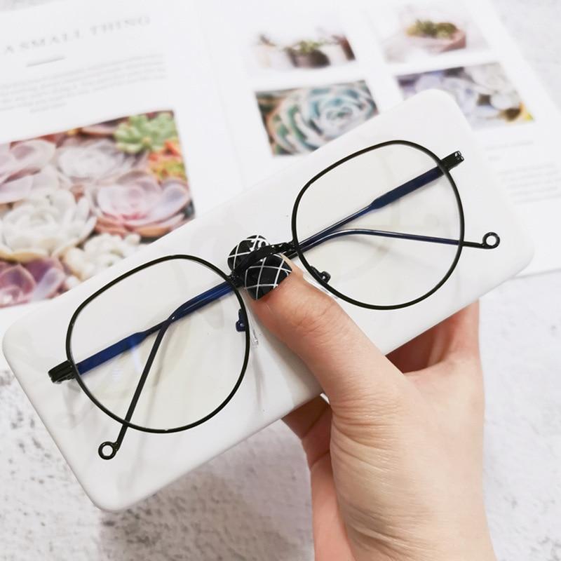 New Metal polygonal glasses female Korean fashion flat glasses male glasses frame Retro sunglasses