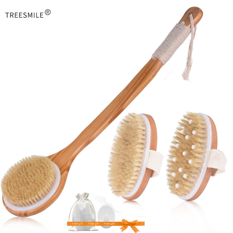 TREESMILE Natural Bristle Bath Brush Exfoliating Wooden Body Massage Shower Brush SPA Woman Man Skin