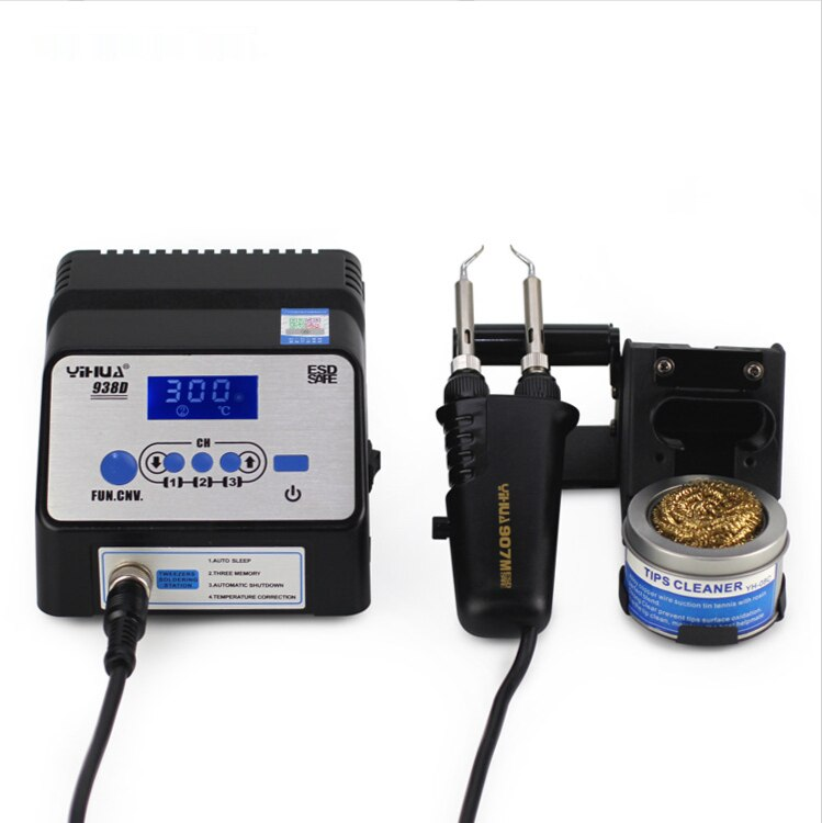 Yihua 938D ثنائي القناة شاشة ديجيتال محطة لحام خالية من الرصاص مكافحة ساكنة المزدوج سبيكة لحام كهربائي لحام sta
