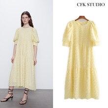 Za femmes Mididress avec demi manches broderie robe de chemise jaune en vrac Sexy robe de soirée