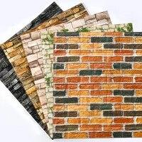 Autocollants muraux en PVC 3D Grain de bois  papier peint auto-adhesif effet rustique en pierre de brique  pour salle de bains et cuisine