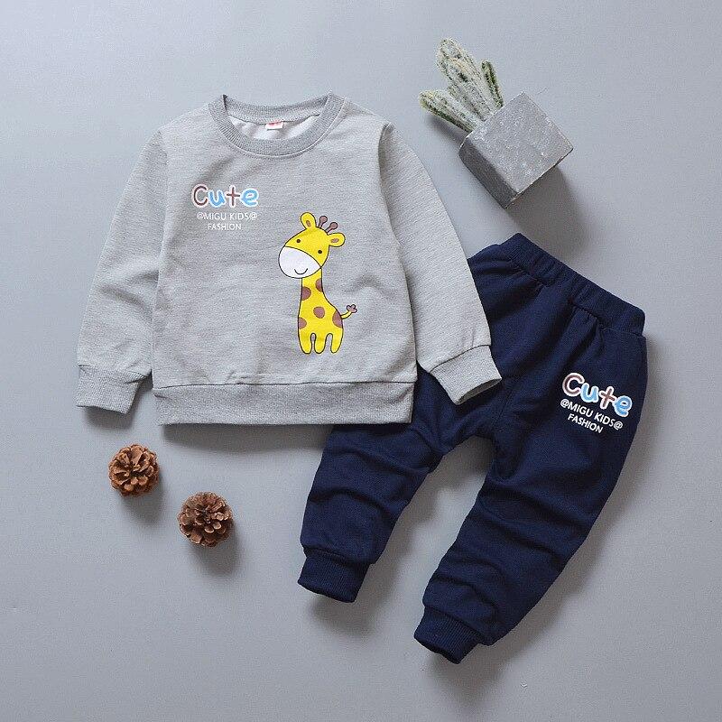 PatPat 2020 nueva llegada de primavera y otoño bebé niño jirafa conjunto para conjuntos de ropa de Niño Pantalones con capucha de dos piezas
