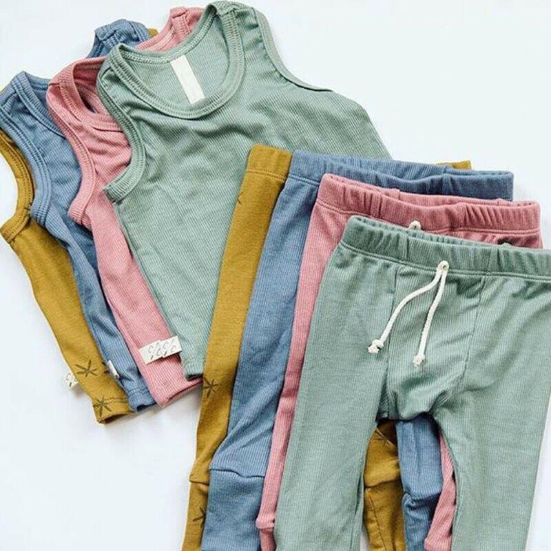 Recién nacido Niño chico bebé niño niña ropa de verano ropa de chaleco Tops + Pantalones largos pantalones 2 piezas trajes conjunto de ropa apto para 0-24M