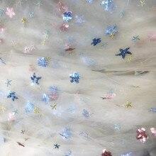 130CM X50CM Courful paillettes étoile Sequin Tulle doux tissu pour robe de soirée de mariage scène vêtement Handmake décoration de la maison