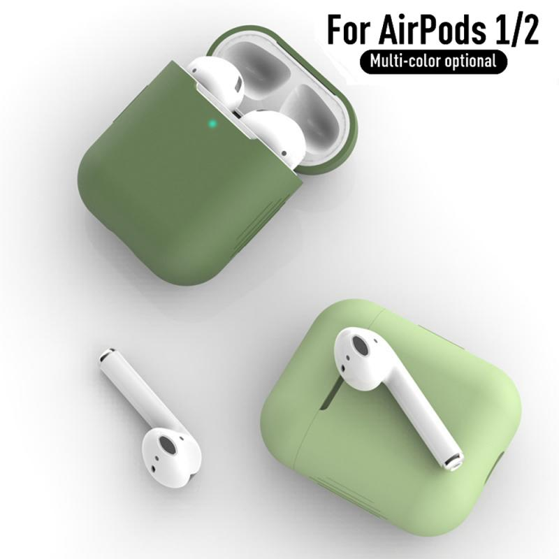 Slim Skin Anti-fall Cover For Airpods1 2 Silicone Bluetooth Headset Case For AirPods 1 2 Earphone Cover Accessories Charging Box