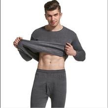 2019 Grey Long Johns For Men Warm Thermal Underwear 2 Piece/Set Clothing Male Winter Plus Size L- 4X