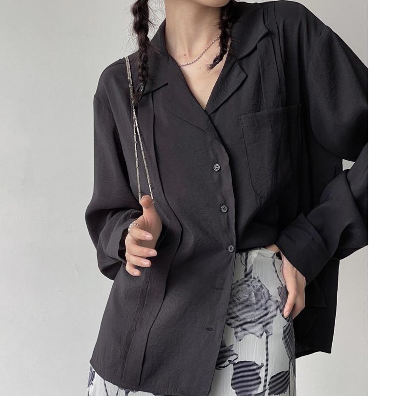 Blouses Female Micro Transparent Matte Jujube Craft Thin Shirt Autumn Design Sense Minority Top Wome