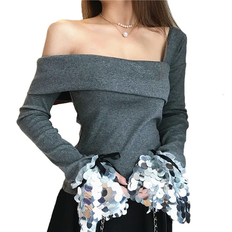 2019 vrouwen blusas sin hombros lentejuelas Mouwen Meer tamaño Dames camisa Kantoor Dame Elegante Katoenen Tops blusas