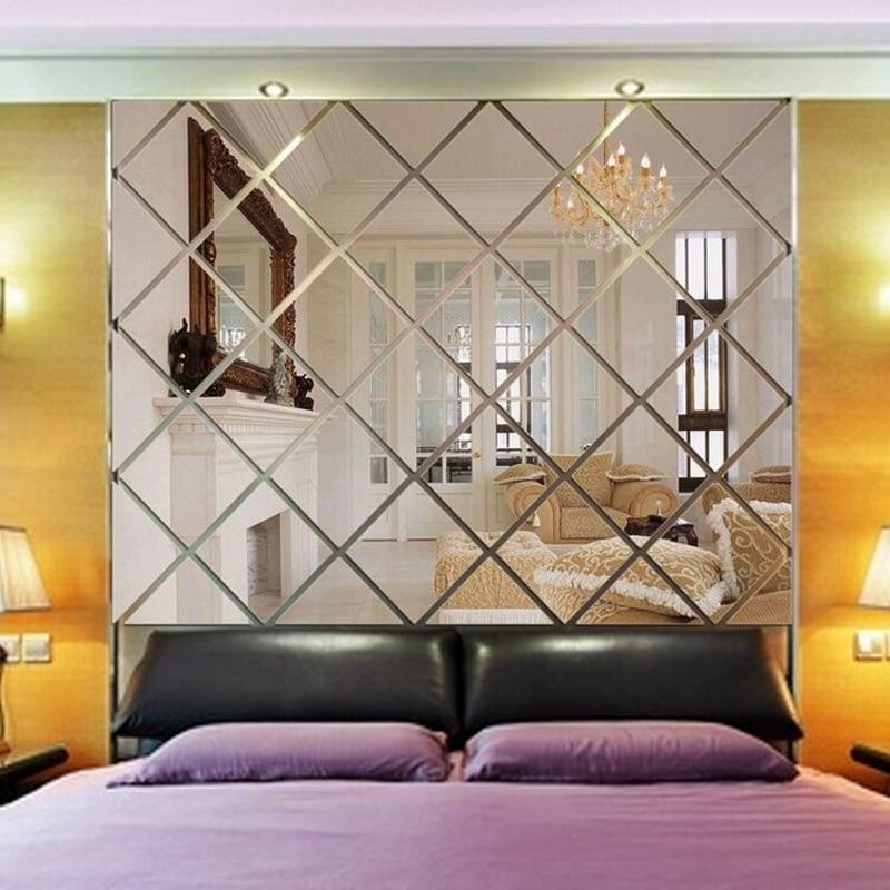 Rhombus Mirror Acrylic 3D Wall Stickers Living Room TV Backdrop DIY Art Wall Decor Home Entrance Mirror Wall Stickers Decoration