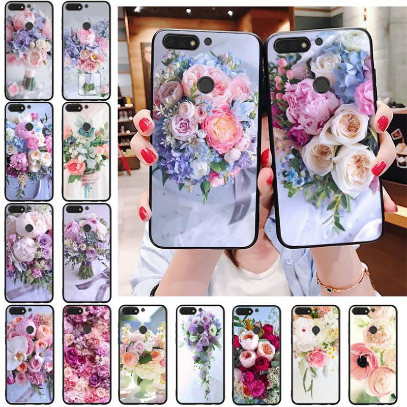 Maiyaca flor de la boda bola peonía rosa púrpura Rosa funda de teléfono para Huawei Honor 8X 9 10 20 Lite 7A 7C 10i 9X play 8C 9XPro
