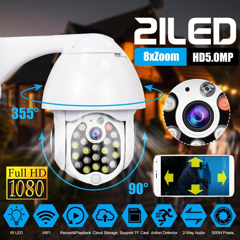 5.0MP 1080P Wireless PTZ Speed Dome IP Camera WiFi Outdoor Two Way Audio CCTV Security Video Network Surveillance Camera P2P