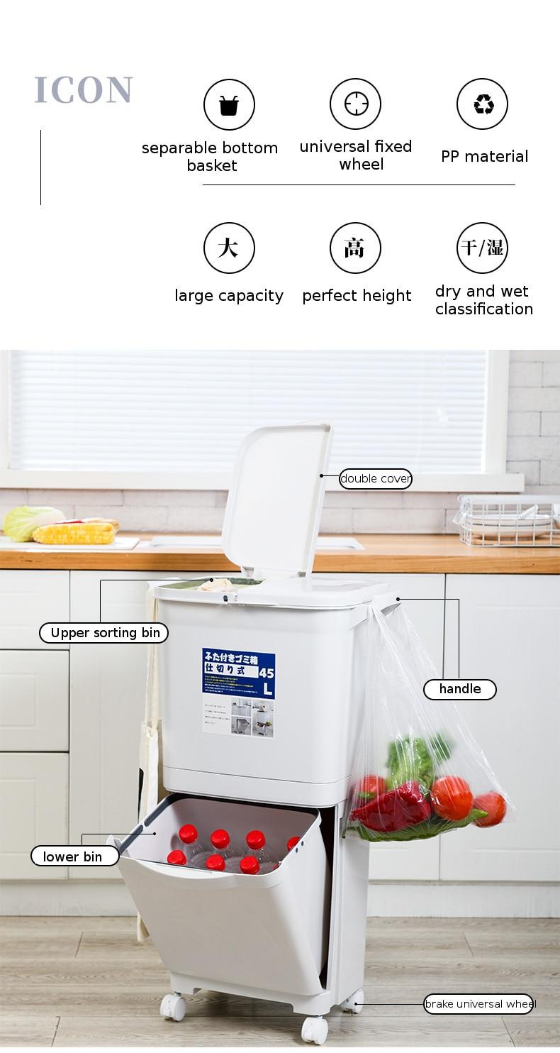 Kitchen Trash Can Recycle Bin Sorting Trash Bin Household Dry And Wet Separation Waste Bin Classification Rubbish Bin with wheel enlarge