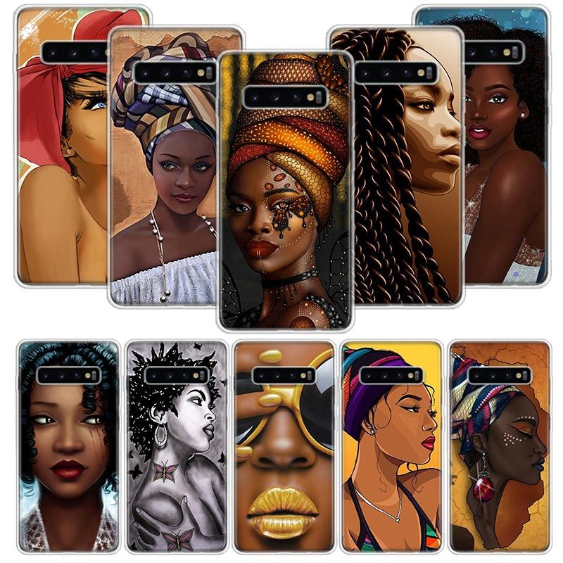Bunte kunst afrikanische mädchen Fall für Samsung Galaxy A50 A70 A30 A20E A10 A40 A51 A71 M30S A10S A20S A6 a7 A8 A9 + Plus 2018 Abdeckung