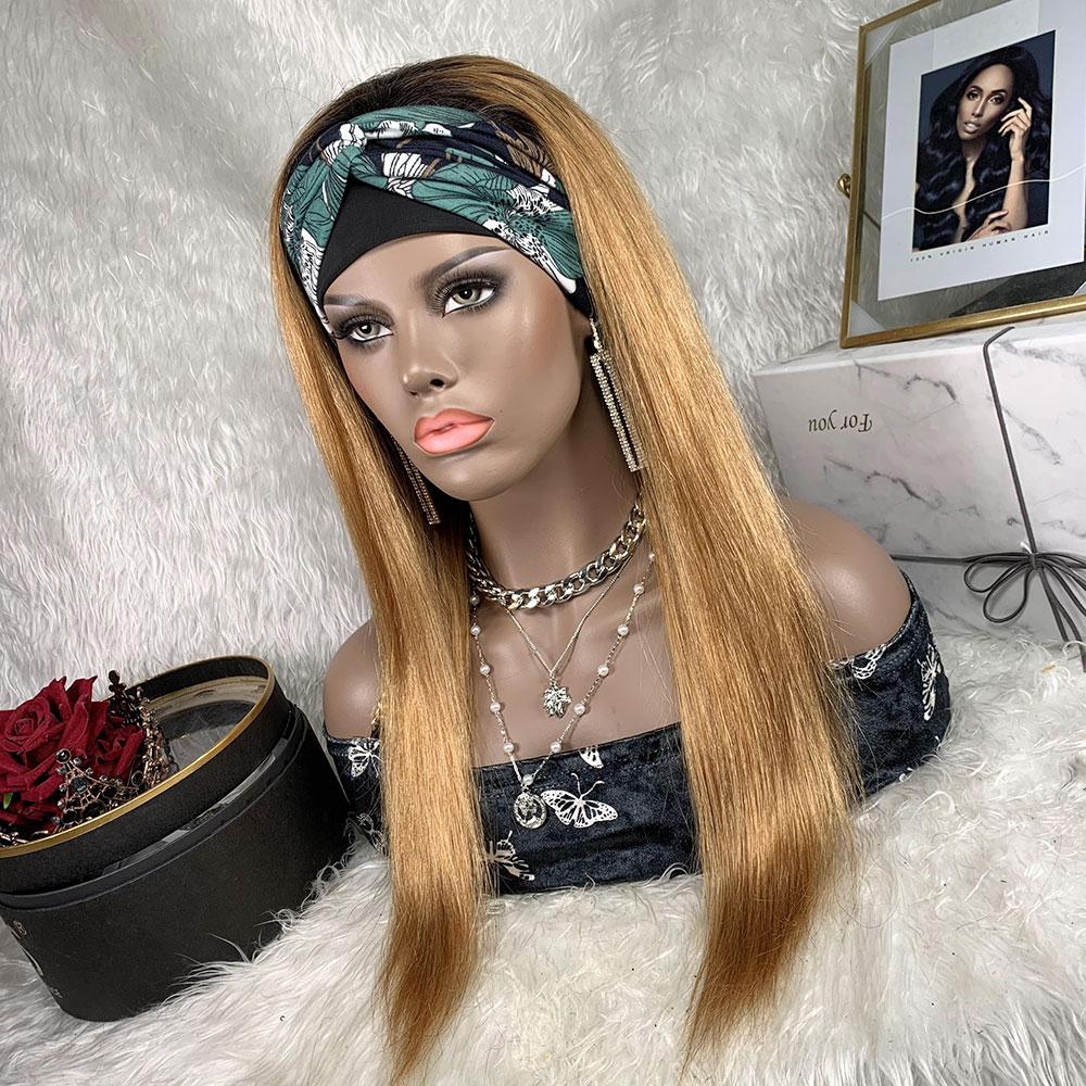 Headband Wig Straight Human Hair Colored Human Hair Wig Brazilian Hair 180% Density Straight Natural Headband Wig Glueless