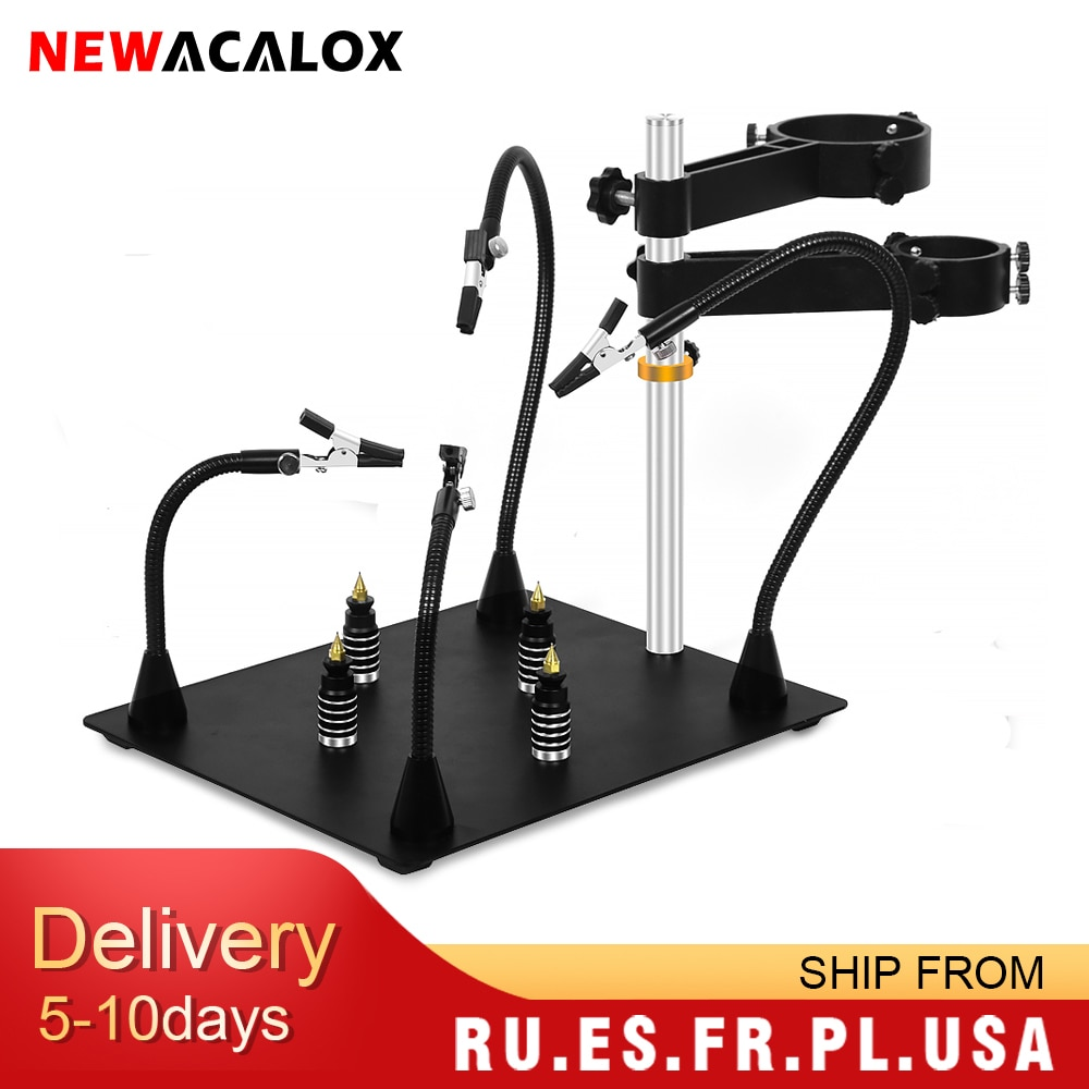 NEWACALOX Third Pana Hand Hot Air Gun Frame PCB Board Holder Heat Gun Stand Helping Hands Soldering Tool 3X LED Magnifying Glass