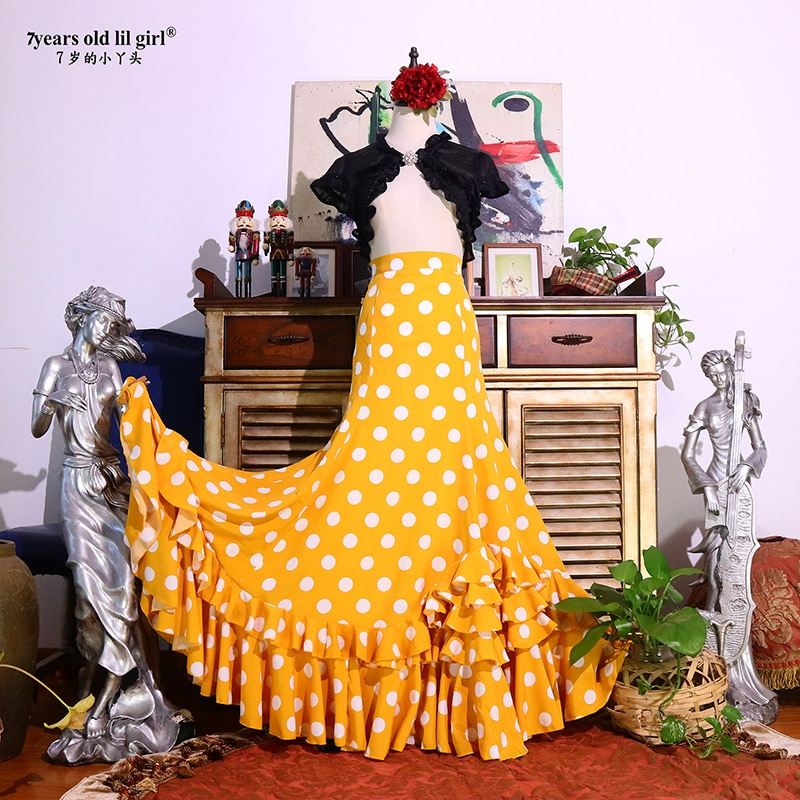 فستان الفلامنكو الاسباني فستان الأداء للنساء والفتيات Gyspy قاعة مهرجان الأداء ملابس الرقص DTT50